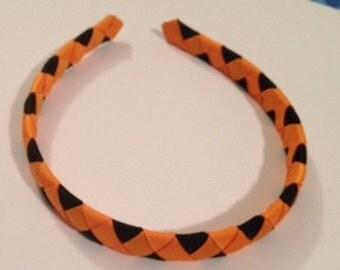 Halloween Handwoven Headband Black and Orange Ribbon Handmade