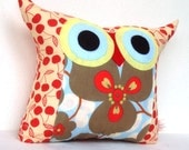 End of month sale/red/ Aqua/flower bed/ designer fabric /owl pillow/gift for her/large size/ready to ship