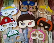 Paw Patrol Inspired Felt Masks...  Great for Birthdays, Dress Up, Costume Party, Halloween