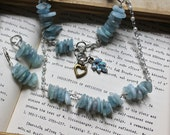 Courtly - Handwired Sterling Silver and Aquamarine Freeform Bead Artisian Necklace, Earrings and Bracelet Set