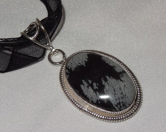 Sterling Silver Snowflake Obsidian Pendant Necklace