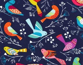 Michael Miller Fabric Flock Birds Navy, Choose your cut