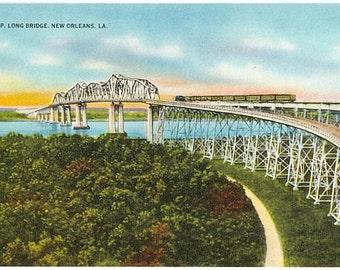 Vintage New Orleans Postcard - Huey P. Long Bridge over the Mississippi River (Unused)