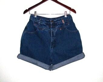 Vintage Hipster High Waist Shorts Rockies Denim W 29 Cowgirl Yoke Buckle Back Smooth Bootie Cut Offs Dark Blue Jean High Waisted 13 14