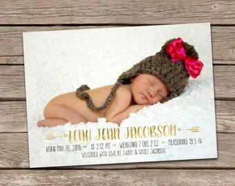 Birth Announcement : Leah Baby Girl Arrow Custom Photo Birth Announcement