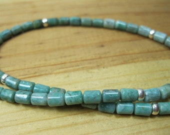 African Jade, Sterling Silver Necklace, Mens Choker, Mens Beaded Necklace, Womens Green Necklace, Mens Gemstone Necklace, Mens Necklace