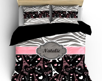 Monogrammed Paris & Zebra Bedding-  Silver Grey Zebra, Black-wht-pink-grey Paris hearts, words, eiffels- available Twin-F/Queen or King Size