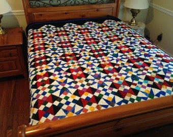 Stunning Cathedral Stars Bed Size Quilt Royal Blue and Black with Red