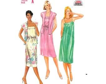 80s Cap Sleeve Jacket & Dress Pattern Butterick 3734 Loose Sundress Womens Size 8 10 12 Sewing Pattern