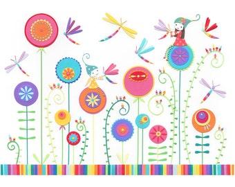 The Dragonfly Garden - A4 Fine Art Print