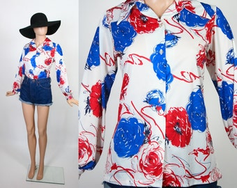 Vintage Red White and Blue Blouse / Floral Print Top / 70s Button Down Shirt / 1970s Hippie Flower Power / Medium / Large