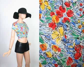 Vintage 80s Summer Top / 1980s Sleeveless Shirt / Boxy Blouse / Floral Print / Extra Small / Small