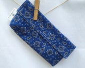 Reusable eco friendly washable Snack Bag - blue bandana print