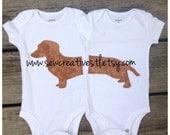 Wiener Dog Dachshund Twin Onesie Set