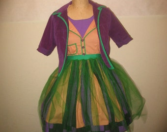 Custom Joker Cosplay Costume Patchwork Dress and Jacket with tails designed by Brittney McIntyre, created by Kimberly H.