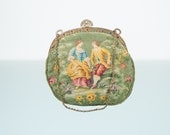 Reserved for SISI….UNIQUE Brocade Baroque Vintage Tapestry  Handbag. Circa 1900, Green, Gold
