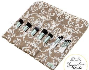 Makeup Organizer | Bridesmaid Make Up Bag Makeup Brush Holder | Roll Up Makeup Case | Travel Makeup Roll | Gray Damask | Ready To Ship