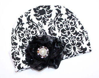 Black and White Damask Baby Beanie Hat