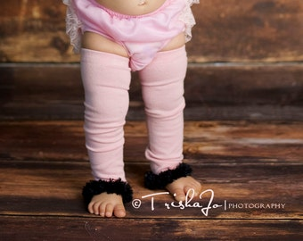 Pink and Black Baby Toddler Leg Warmers