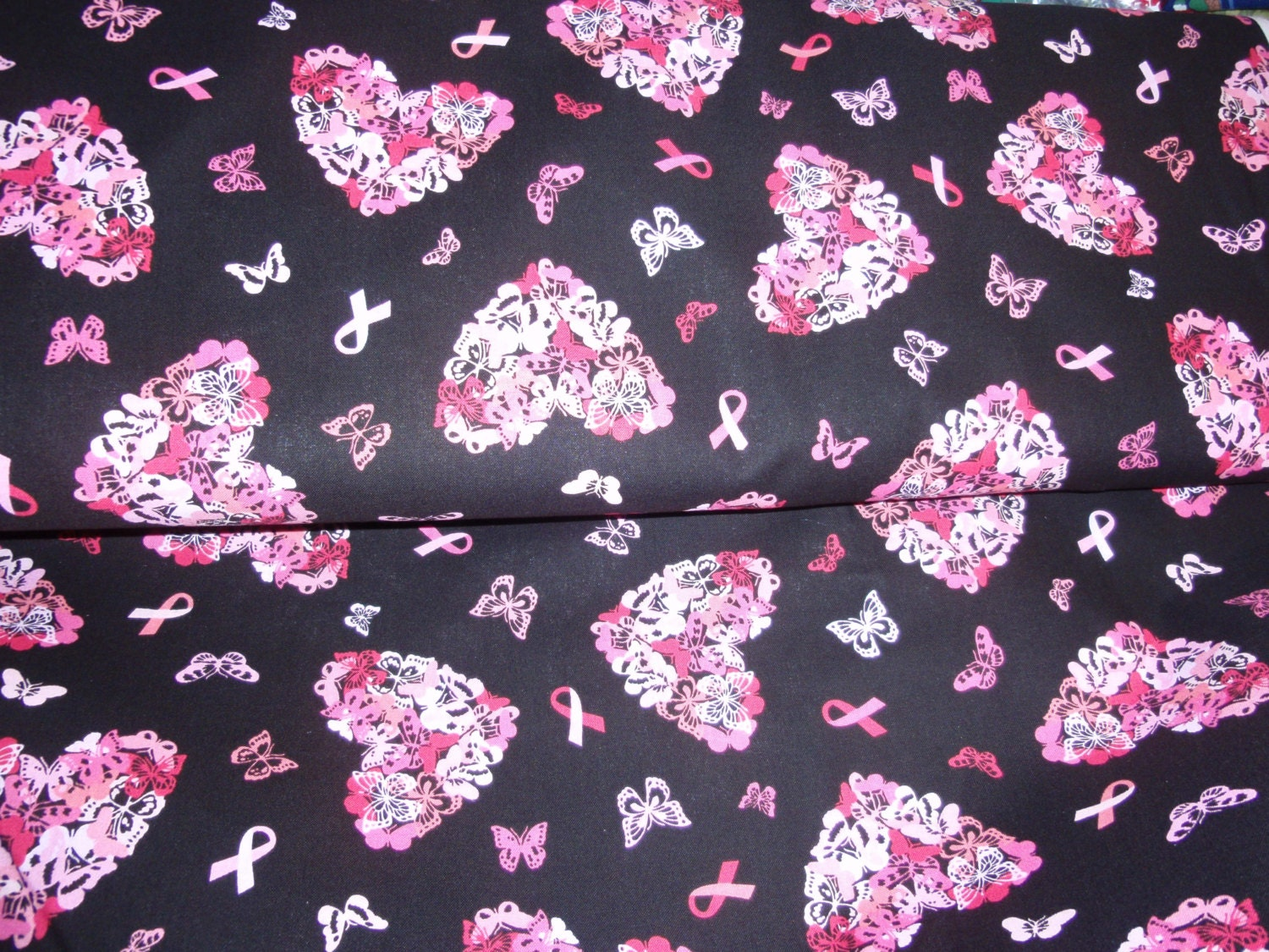 Breast Cancer Awareness Pink Ribbon And Butterfly Heart