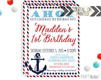Nautical Invitation - Digital or Printed | Nautical Printable |Nautical Birthday Party Invitation | Anchor Invitation | Americana Invitation