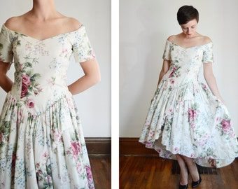 1980s Floral Off the Shoulder Party Dress - M