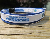 Golden State Warriors Cat or Small Dog Collar with Blue, Yellow or Pink Backing