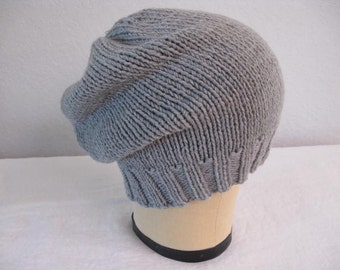 Gray Slouchy. Light Gray Extra Fine Merino Wool Beanie. Hand Knit Hat. Watch Cap. Accessories.