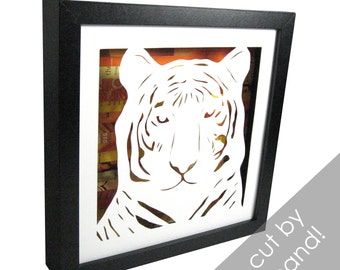 Tiger face shadowbox- made from recycled magazines, handcut, colorful, animal, africa, high school mascot