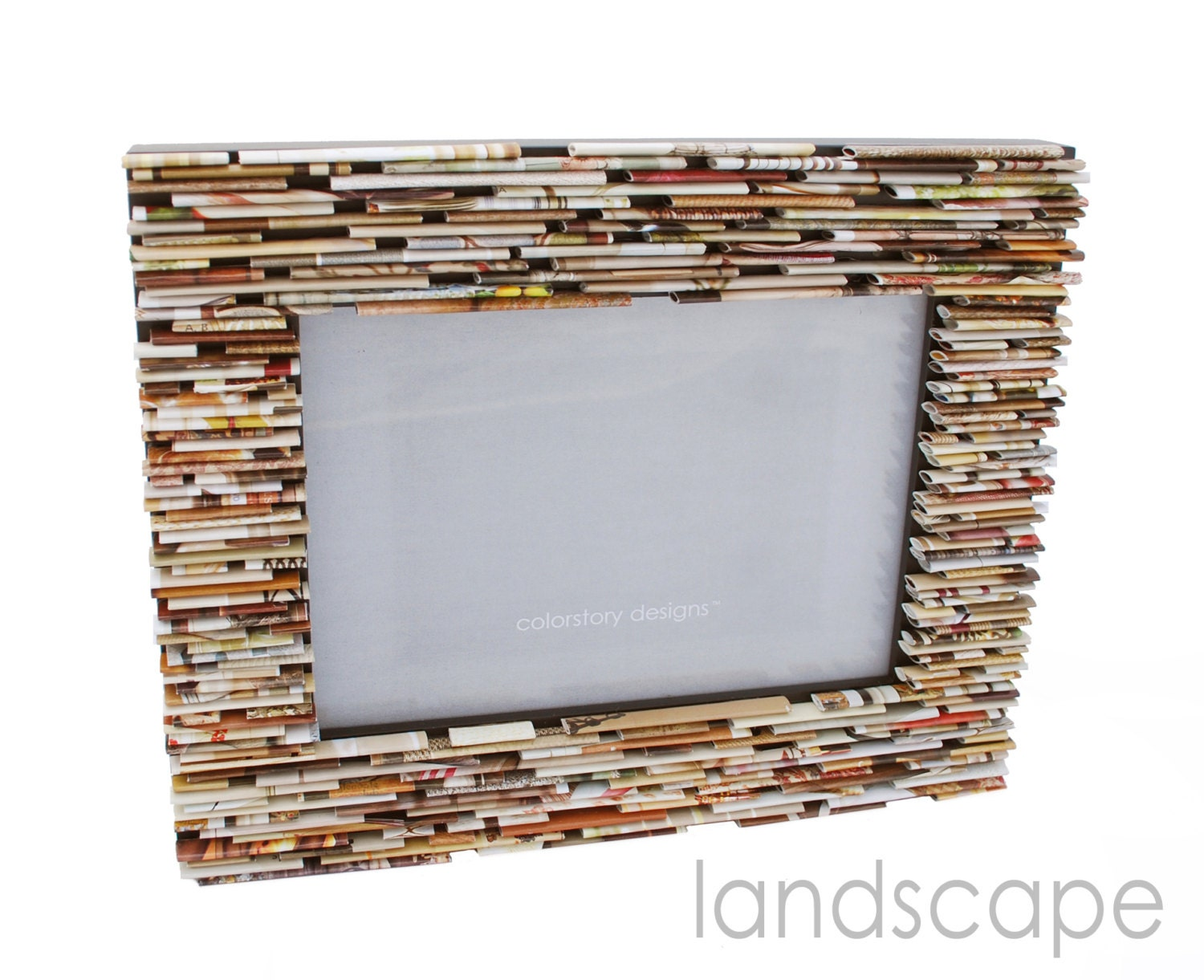 Neutral recycled magazine picture frame 5x7 neutral brown tan 4800 jeuxipadfo Image collections