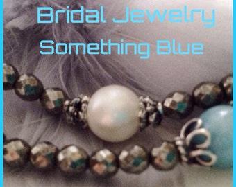 Bridal Jewelry set Bracelet set Blue Larimar White Pearl antiqued sterling silver minimalist