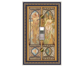 0335b - Art Nouveau Mucha Winter, Spring Switchplates - mrs butler  (Choose size/price from dropdown)light switchplates, switch plate covers