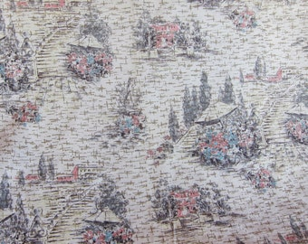 Vintage barkcloth,  1950s fabric, mid century,  barkcloth panel, gray upholstery, Romantic European  scene, Spanish Steps, Flower Stall