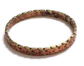 Mixed Metals Bracelet, Copper Brass Bangle, Vintage Bangle Bracelet, Modernist Jewelry