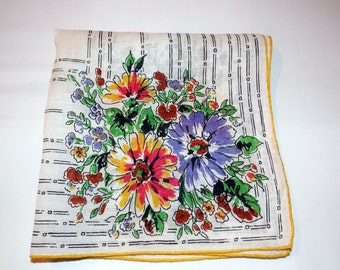 Vintage Flower Bouquet 1950s Handkerchief