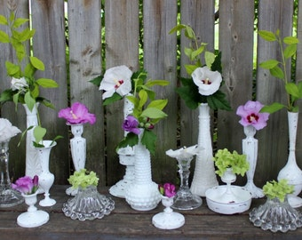 Vintage Wedding Decor Collection of Candlesticks and Vases 19 Pieces Make Decorating Easy & Affordable