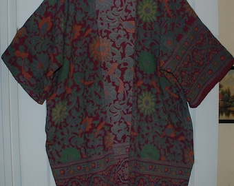 Kimono -Hippie Maroon Green Sunflower with Belt -East IndianTapestry Fabric