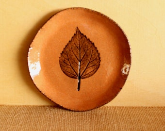 Lovely Handmade Red Stoneware Pressed Hibiscus LEAF Soap Dish / Ring Dish / Catch All