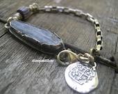 Artisan Jewelry  -  Bold rustic Statement Bracelet  -  Sterling Silver Treasure Coin Charm Bracelet  -  SimpleeSilver Jewelry