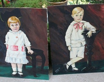 Pair of Beautiful Vintage Boy and Girl Paintings / Large
