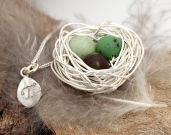 Personalized bird nest necklace with three chrysoprase eggs and initial charm- silver plated woven wire- May birthstone- crystal healing