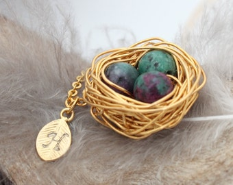 Personalized bird nest necklace with three ruby in zoisite eggs and initial charm- gold plated woven wire- July birthstone- crystal healing