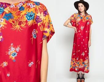Hippie Maxi Dress Caftan 70s Kimono Sleeve FLORAL Kaftan Boho Ethnic Bohemian Vintage Gypsy Festival Retro Red Slit Medium Large