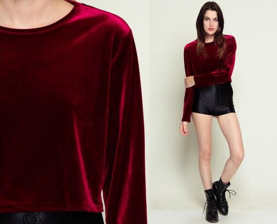 Red velvet blouse crop top grunge goth shirt long sleeve for Red velvet button up shirt
