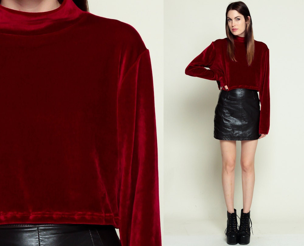 Red Velvet Blouse Crop Top Grunge Goth Shirt Long By Shopexile