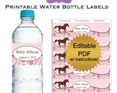 DIY editable printable water bottle labels PDF (No.61) cowgirl baby shower favors girl Digital File pink paisley gingham horse