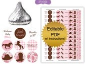 DIY editable printable candy stickers (No.k89) cowgirl pink baby shower favors girl paisley gingham horse brown Digital File
