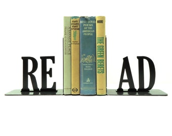 Read Text Metal Art Bookends - Free USA Shipping