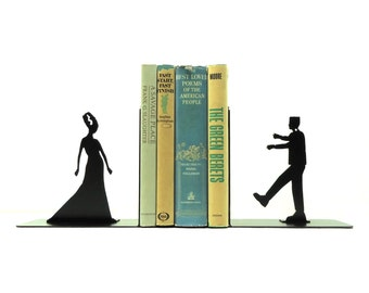 Frankenstein and Bride Metal Art Bookends - Free USA Shipping