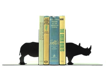 Rhino Metal Art Bookends - Free USA Shipping